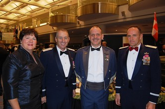 Laury Edwards, left, MG Michael Edwards, HRH Prince Faisal and BG Trulan Eyre